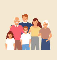 portrait of happy family with grandfather vector image