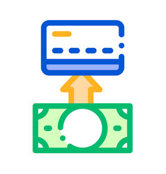 putting money cash on card thin line icon vector image