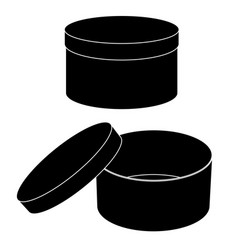 Round gift box open and closed flat black vector