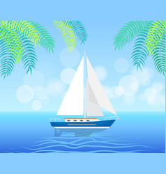Sailboat isolated on clean water in summertime vector