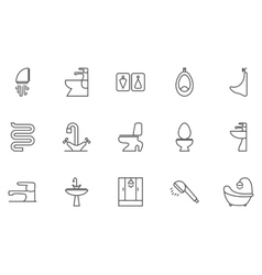 Sanitary ingeniring editable icons vector image
