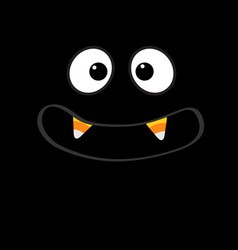 Scary face emotions big eyes mouth with candy vector