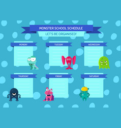 school schedule with ribbons cartoon vector image