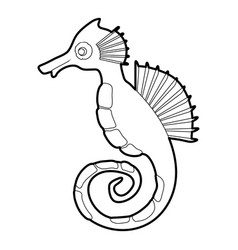 seahorse icon outline vector image