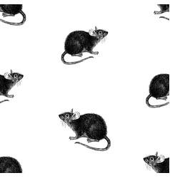 Seamless background sketches black eared rat vector