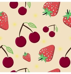 Seamless Cherry Strawberry vector image