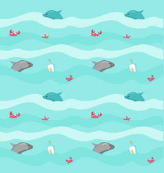 Seamless pattern with marine animals and vector