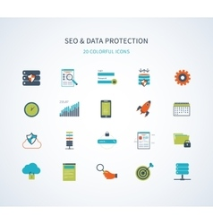 Seo and data protection icons vector