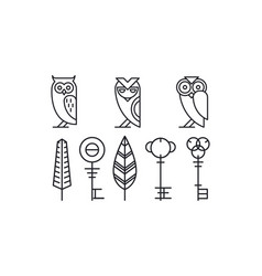 set 8 decor elements owls keys and leaves vector image