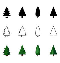 set different styles pine tree icons vector image