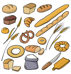 set of bread and bakery vector image