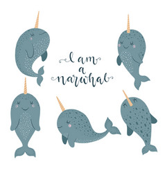 Set of cute with narwhal baby vector