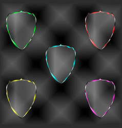 Set of transparent shields vector