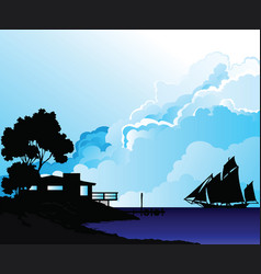 Shoreline house and sailing boat vector
