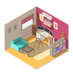 Small home office isometric interior vector