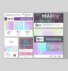 Social media posts set abstract design business vector