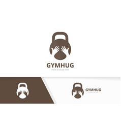 sport and hands logo combination gym vector image