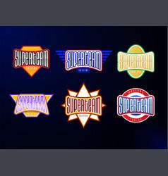 sport emblem typography set super team hero vector image