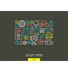 Sport integrated thin line symbols Modern linear vector image