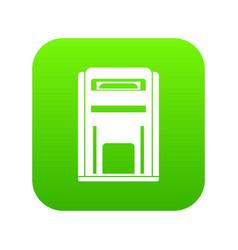 Square post box icon digital green vector