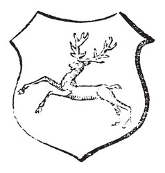 stag courant have running deer vintage engraving vector image