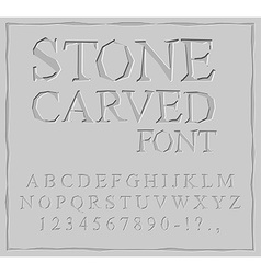Stone Carved font Alphabet on rock plate Chips and vector