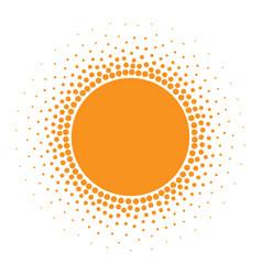 Sun icon halftone sunny orange circle vector