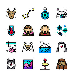 Thin line arctic icons set vector