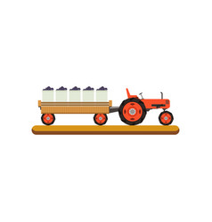 Tractor with trailer transporting ripe grape vector