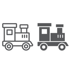 train toy line and glyph icon child vector image