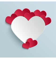 Valentines day card with paper cut heart vector image