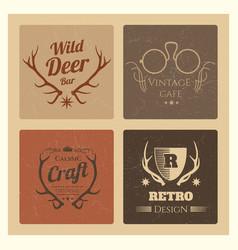 vintage hipster labels set trendy grunge logo vector image