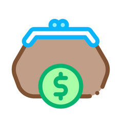 wallet coin money icon outline vector image