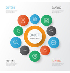Web icons set collection of exit unlock vector