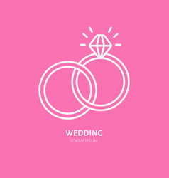 Wedding or engagement rings line icon logo vector