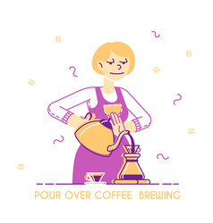 Woman brewing coffee concept housewife or vector