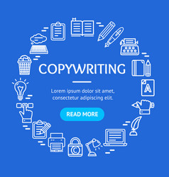 writer and copywriting signs round design template vector image