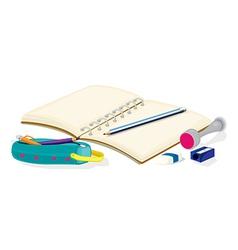 An empty notebook pencils a pencil case an eraser vector image vector image