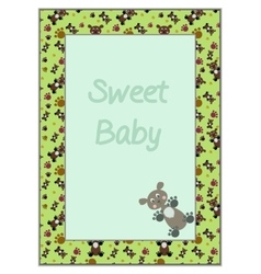 Card Frame with Green Background Teddy-bears vector image vector image