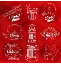 Chinese food symbols red vector image