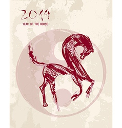 Chinese new year Horse sketch style file vector image vector image