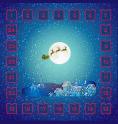 christmas advent calendar with santa claus and vector image vector image