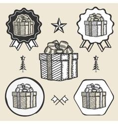 Gift box ribbon bow symbol emblem label collection vector image