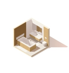 isometric low poly bathroom icon vector image vector image