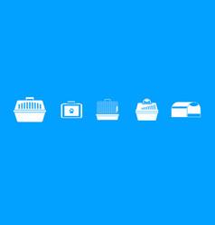 pet cage icon blue set vector image