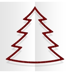 Red Sequins Christmas Tree Winter New Year vector image
