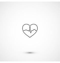 Simple minimalistic heart ecg vector image
