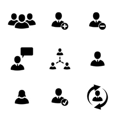 black office people icons set vector image vector image