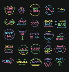 neon signs set vector image