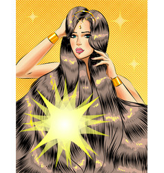 pop art beautiful girl with long glossy vector image
